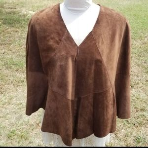 INC Lined Brown Suede Leather Poncho